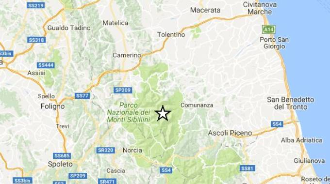 30 settembre, due scosse di terremoto con epicentro nell'Ascolano (Foto Ingv)