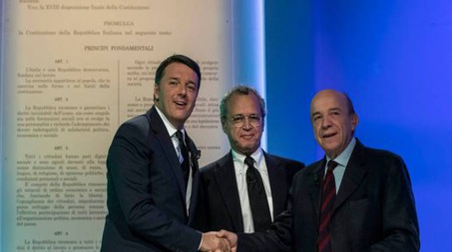Matteo Renzi, Enrico Mentana, Gustavo Zagrebelsky (LaPresse)