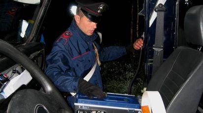 Carabinieri con l'apparecchiatura per l'alcoltest (foto d'archivio)