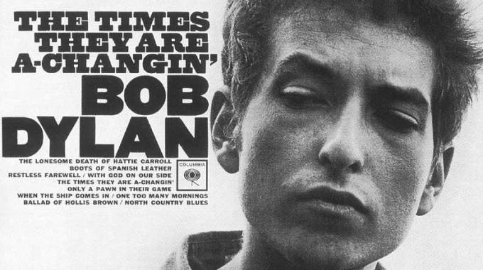 La copertina dell'album  di Bob Dylan 'The times they are a-changing' (Ansa)