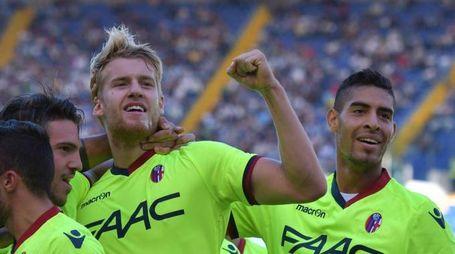 Filip Helander festeggia il gol alla Lazio