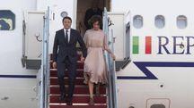 Matteo e Agnese Renzi arrivano a Washington (Ansa)