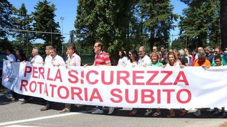 I manifestanti sull'Aurelia