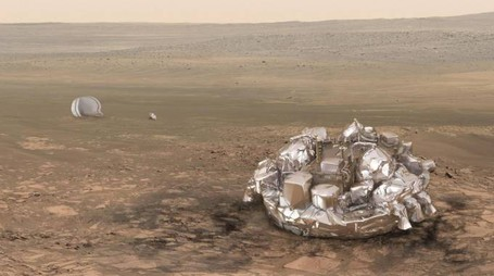 Exomars, in una riproduzione grafica Schiaparelli sulla superficie di Marte (Ansa)