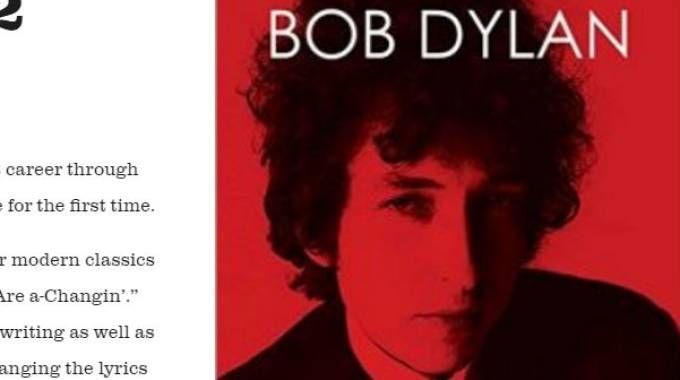 Sul sito di Bob Dylan la scritta: vincitore del Nobel per la letteratura