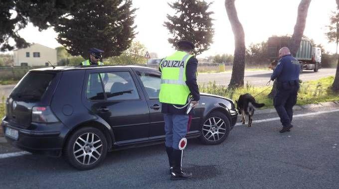 La pattuglia della polizia stradale con il cane-poliziotto Corinne