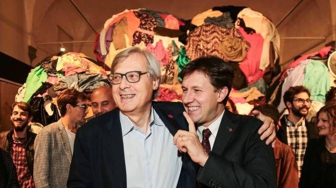 Sgarbi e il sindaco Nardella all'inaugurazione della mostra (Cabras / New Press Photo)