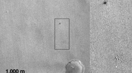 La foto della sonda Mro del punto dove il lander Schiaparelli ha toccato Marte (sito Esa)