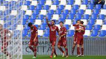 Reggiana, l'esultanza dopo il gol con cui è stata sconfitta la Maceratese (Artioli)