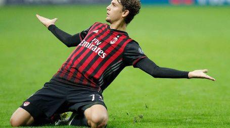 Esultanza di Locatelli del Milan dopo il gol dell'1-0