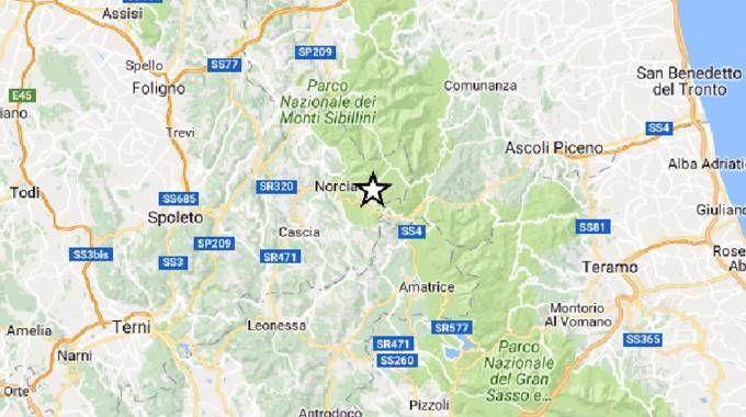 L'area del terremoto del 24 agosto scorso