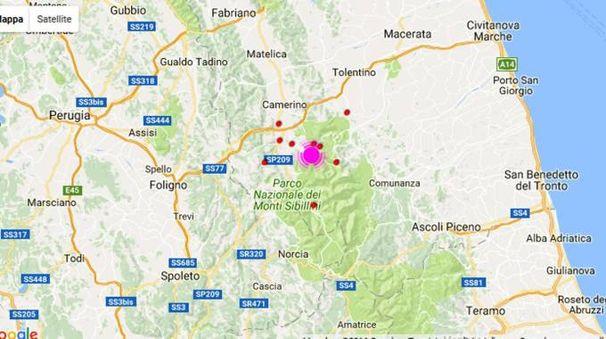 L'epicentro del terremoto di magnitudo 5.4 che ha fatto tremare le Marche (Ansa)