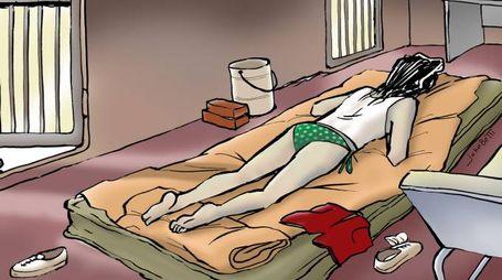 Nel disegno di John Betti la ricostruzione dell'interno del container dove è stato ritrovato il corpo, ormai mummificato, di una donna dall'apparente età compresa tra i 18 ed i 40 anni