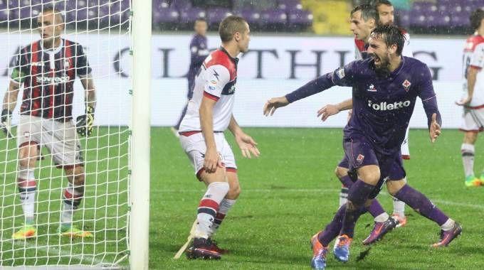 Fiorentina-Crotone, Astori esulta dopo il gol (Germogli)