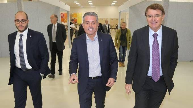 Il sindaco Lucchi al centro e a  destra il presidente di Cesena Fiera Renzo Piraccini