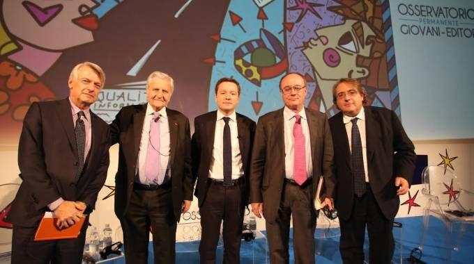 Ferruccio de Bortoli, Jean-Claude Trichet, Andrea Ceccherini, Luis Linde e R. Napoletano