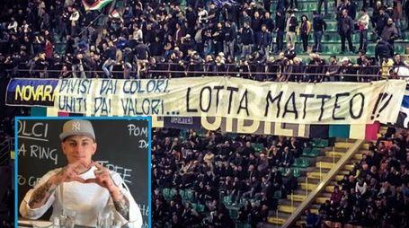 Lo striscione dedicato a Matteo Mevio da parte dei tifosi dell'Inter