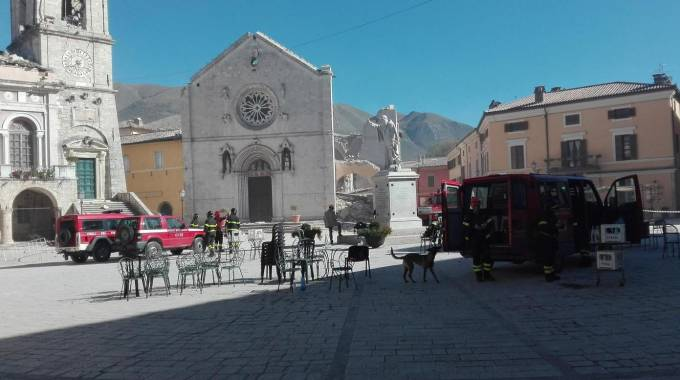 La basilica di San Benedetto a Norcia (Ansa)