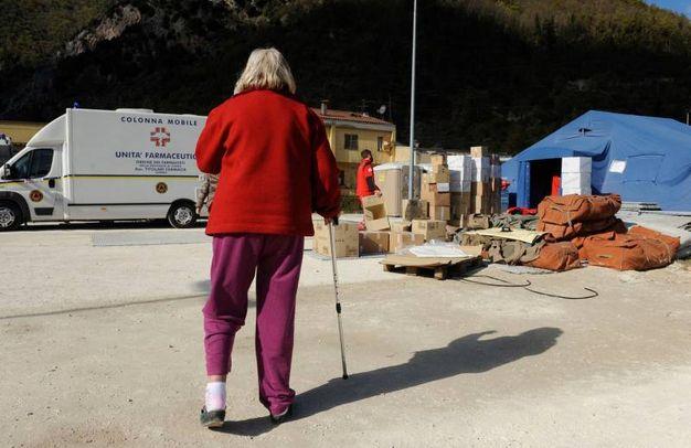Il centro di accoglienza della Croce Rossa di Visso (foto Calavita)
