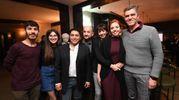 Foto di gruppo di vincitori e accompagnatori. Da sinistra, Tommaso Héri, Teresa Pasquini, Luigi Frabboni, Alberto Crivellaro, Paola Romanelli, Martina Perdisa, Alessandro Perdisa, e Bruno Barbieri