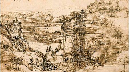 Il Paesaggio con fiume di leonardo