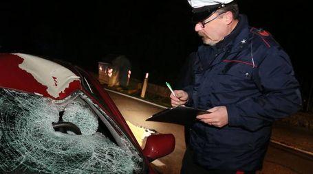 Incidente a Dozza, i carabinieri impegnati nei rilievi (Isolapress)