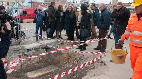 Il cantiere ha portato alla luce il reperto storico (Foto Novi)