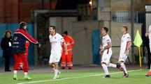 La gioia di Andrea Catellani dopo aver realizzato la rete dell'1-0 su calcio di rigore