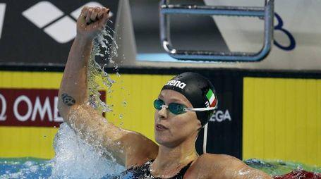 Federica Pellegrini subito dopo la vittoria nei 200 sl (Ansa)