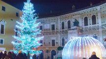 Natale, l'albero in piazza del Popolo a Fermo (foto Zeppilli)