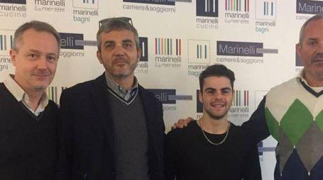 NUOVI ARRIVI Da destra: l'imprenditore Andrea Marinelli, il pilota Romano Fenati, il team manager Mirko Cecchini, il manager Stefano Bedon