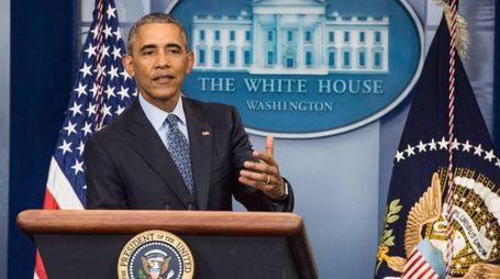 Barack Obama durante l'ultima conferenza stampa da presidente (Olycom)