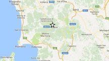 La stella indica l'epicentro del terremoto,a  Montieri