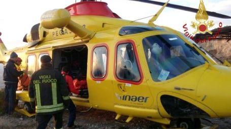 L'intervento dell'elicottero di soccorso Pegaso