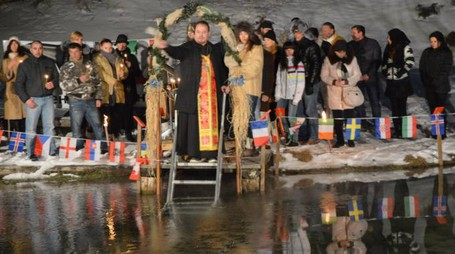 Madesimo, il battesimo ortodosso a -10