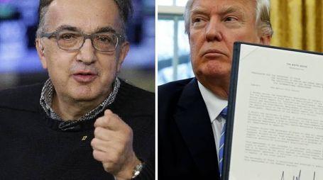 Trump firma l'uscita degli Usa dal Tpp. Accanto una foto di Marchionne (Ansa/LaPresse)