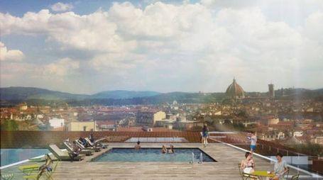 Il rendering mostra la terrazza dello Student Hotel nell'ex palazzo del Sonno