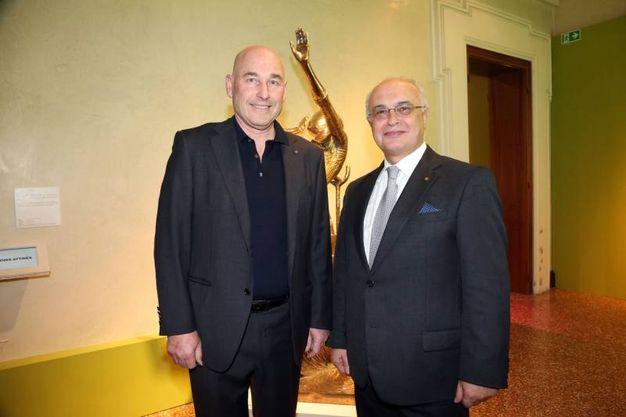 L'editore Andrea Riffeser Monti, Ad di PoligraficiEditoriale, con Daniele Ravaglia, direttore generale di EmilBanca (Schicchi)