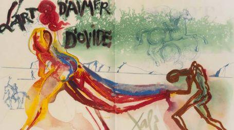 Una delle opere in mostra a Palazzo Belloni