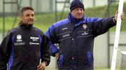Con Carletto Mazzone, ai tempi del Brescia: per contratto Baggio poteva richiedere di essere svincolato qualora il tecnico fosse stato esonerato (Ansa)