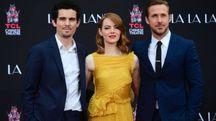 Emma Stone e Ryan Gosling con Damien Chazelle