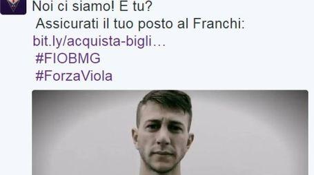 Il pasrticolare di un tweet della Fiorentina per chiamare i tifosi allo stadio