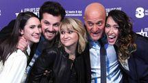 Lodovica Comello, Frank Matano, Luciana Littizzetto, Claudio Bisio e Nina Zilli (Ansa)