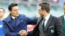 Vincenzo Montella e Eusebio Di Francesco, allenatori di Milan e Sassuolo