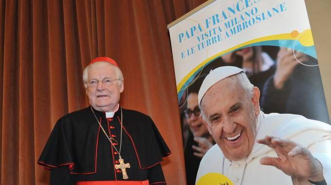 L'arcivescovo Scola alla presentazione della visita del Papa (Newpress)