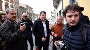 Matteo Renzi arriva al circolo Vie Nuove (foto Giuseppe Cabras/New Pressphoto)