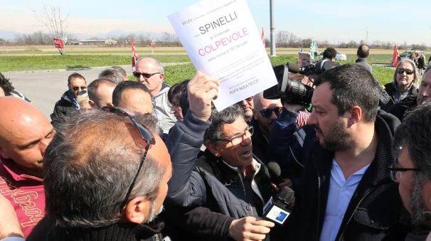 Matteo Salvini al presidio della K Flex