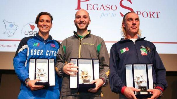 Pegaso per lo Sport 2017, la premiazione: Bruni, Campriani, Cornamusini  (Foto Germogli)