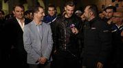 Mister Semplici e alcun giocatori intervistati su Sky (foto BusinessPress)