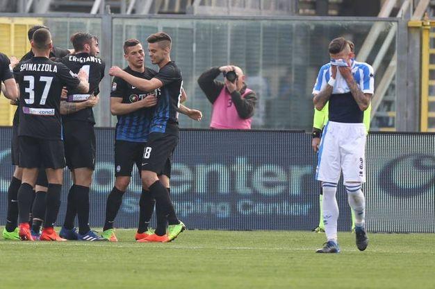 Esultanza Atalanta per il gol dell'1-0 (LaPresse)
